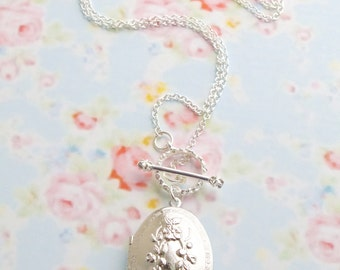 Floral Ornate Locket Necklace - Womens