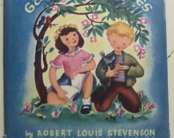 Vintage Childrens Book A Child's Garden of Verses by Robert L. Stevenson Illustrated by Erika Weihs The Lamplighter Series  1945