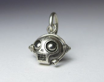 Steampunk necklace MICROPHONE FIEND sterling silver with long gunmetal ball chain