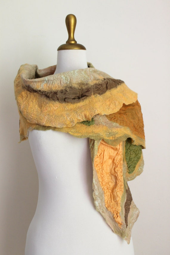 Nuno Felted Silk Scarf  Peach and Chartreuse Green