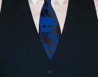 6 Mens microfiber neckties, Distressed skull design - custom colors available
