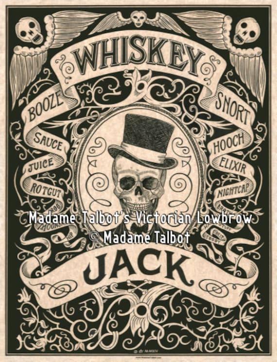 Whiskey Jack Booze Skull Bar Pub Victorian Lowbrow Poster