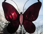 Stained Glass Butterfly Suncatcher Burgundy Purple (SUN004)