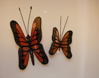 Monarch Butterfly Stained Glass Suncatcher Set of Two Hand-Painted Butterflies - Made to Order (MON003)