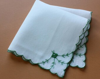 Vintage Handkerchief with Floral Embroidery in White and Green