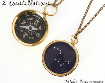 Custom Constellation Working Compass Necklace - Two Constellations on One Compass - Zodiac, Anniversary Gift, Birthday, His and Hers