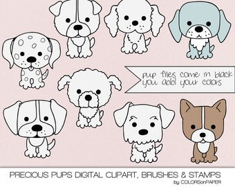 So Cute. Precious Puppies Digital Clipart, Brushes and Stamps. Png Files. Instant Download. Personal and Limited Commercial Use.