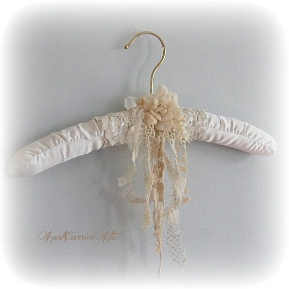 White Wedding Dress Hanger Bridal Shabby Chic Rustic Vintage