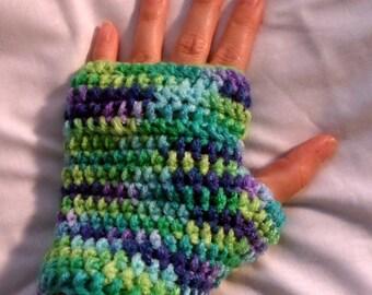 Crochet Fingerless Gloves, Fingerless Mittens, Blue, Green, Purple