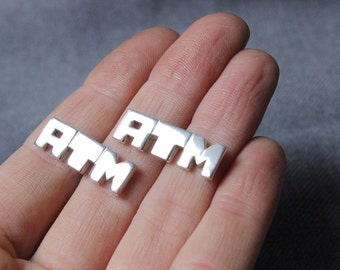 Personalized Sterling silver Cufflinks, Made to order with your initials, Monogram cufflinks, mens accessories
