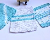 Knitted Washcloths - Pale Aqua Too - Set of 3