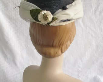 Clearance 40's 50's Vintage Blue Straw Hat with Tulle and White Flowers