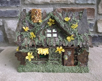 Fairy House Yellow  Blossom  with white LED Lights