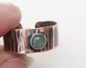 Copper Gems toe ring, aventurine or lapis toering, copper toe ring, toe gems, green or blue toe ring, toe jewelry, foot jewelry, summer