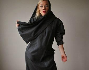 1980s Charcoal Harve Benard Dress~Size Medium to Large