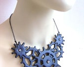 Cog necklace Gear Steampunk gothic statement necklace Noir Victorian inspired Distressed Black with Crystals- Tempus Fugit symphony