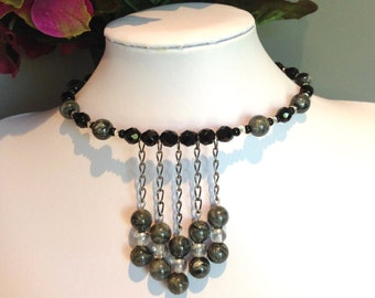 Black and Grey Crystal Wrap Necklace Set ( Free shipping to Canada and the USA )