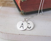 Two Initials Necklace -- Personalized Necklace - Pesonalized Initials Necklace Two Sterling Silver Initials, Couples Necklace, Mommy Jewelry