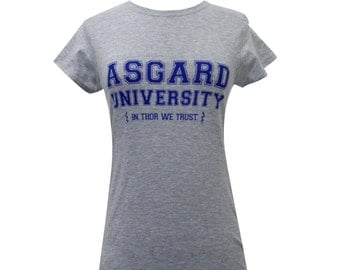 Asgard University Ladies T Shirt  - Thor Shirt (Available in sizes s,m,l,xl)