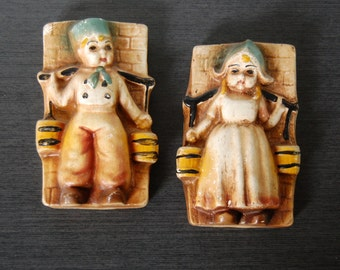 Chalkware Wall Plaques Dutch Children, Boy and GIrl Carrying Water Buckets, Muted Tones