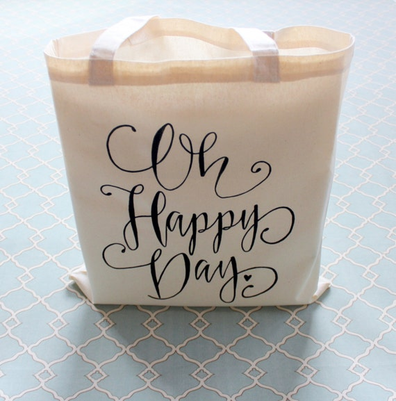 Oh Happy Day Tote Gift Bag Wedding Welcome Bag Bridal Bag Bachelorette Hotel Favor