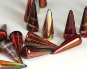 10 large Czech glass spikes 17x7mm - Ruby Vitrail, red peacock gold metallic - rainbow drops, S15