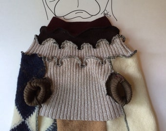 Recycled PUG Sweater ~ Dog Sweater ~ Reconstucted Dog Sweater