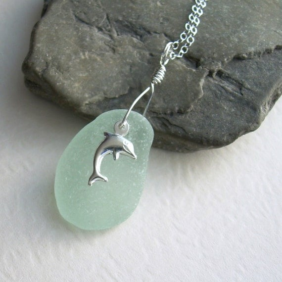 Silver Dolphin Necklace, Mint Green Sea Glass Pendant, Ocean Jewelry