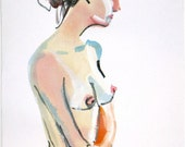Nude painting- Nude# 1147- original watercolor painting by Gretchen Kelly