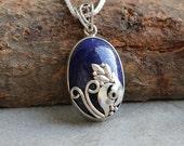 Blue pendant - Lapis lazuli pendant - Lapis pendant -  Bezel pendant - Oval pendant - Gemstone pendant - Gift for her