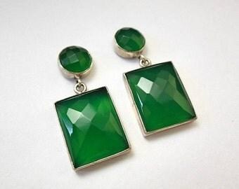 statement earrings - Faceted earrings - Green Onyx earrings - Rectangle earrings - Bezel earrings - Christmas gift idea
