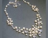 Ivory Pearl Rhinestone Vine Bridal Necklace - Swarovski Pearls Wire Wrapped Austrian Crystal Silver Brides Bridesmaid Wedding Gifts