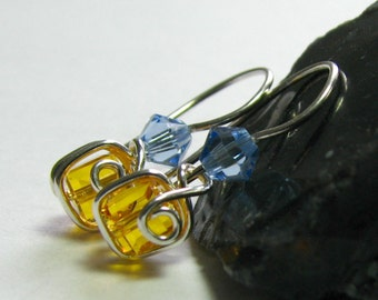 Yellow Blue Swarovski Crystal Wire Wrapped Illusion Earrings Sterling Silver E546A