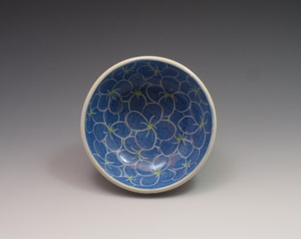 Porcelain Mini prep bowl, handpainted in blue hydrangea design