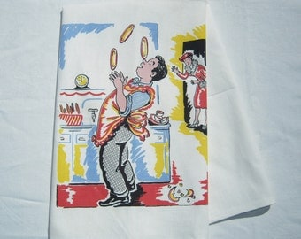 Vintage Towel Hubby Juggles the Dishes