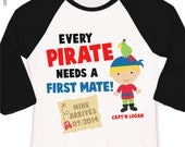 Pirate big brother shirt first mate pregnancy announcement raglan Tshirt