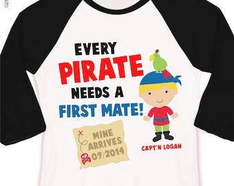 Pirate big brother shirt first mate pregnancy announcement raglan Tshirt
