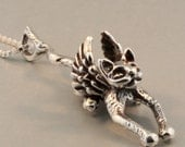 Flying Cat Necklace - Angel Kitty Pendant - Silver Flying Cat Charm - Cat Angel Wings Necklace - Silver Cat - Cat Jewelry Cat Necklace