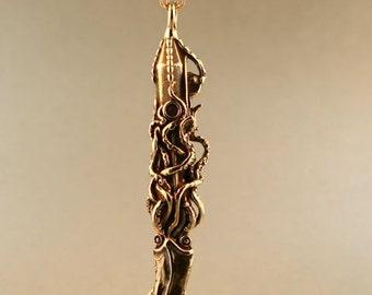Squid Necklace Squid Jewelry Squid Attacks Nautilus Submarine Pendant Bronze Squid Necklace Kraken Jewelry Steampunk Jewelry Tentacle Charm