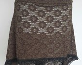 Chocolate two toned Hi Lo Skirt for Belly Dance or Hooping
