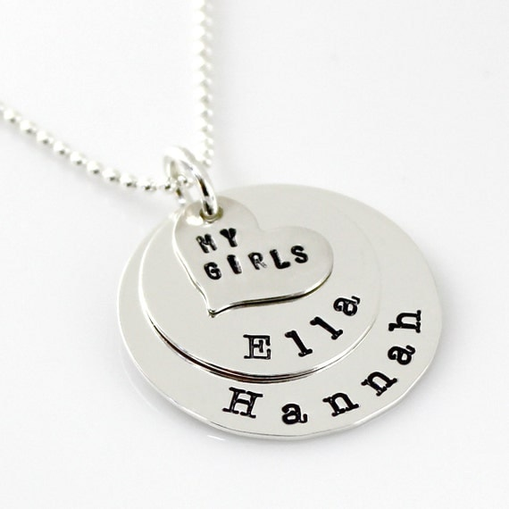 Personalized Sweet Heart Stack - hand stamped sterling silver necklace