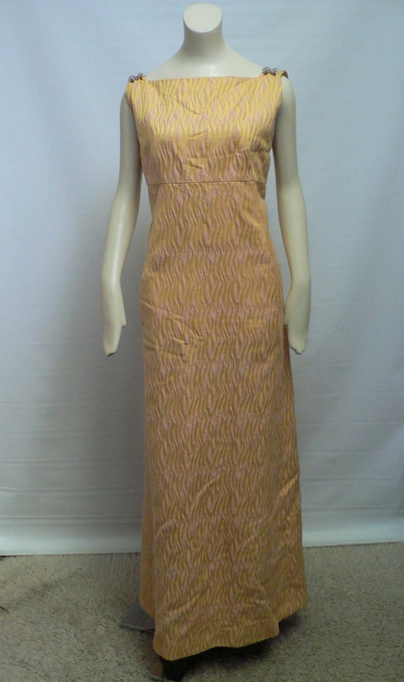 1960s long dress party gown pink yellow psychedelic / Malcolm Starr evening gown