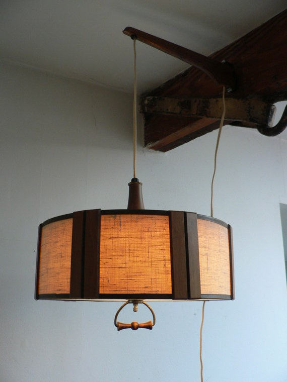 Danish modern hanging light fixture mid century by for Danish modern light fixtures