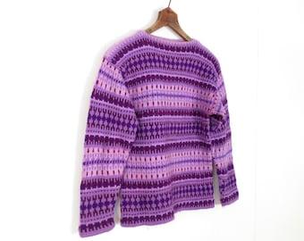 Fair Isle Sweater / Glühwein / Purple Sweater / 60s Sweater / XS