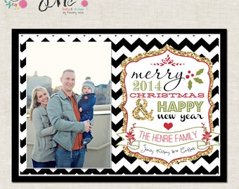 Chevron and Gold Glitter- Custom Christmas Cards or Holiday Greeting Card