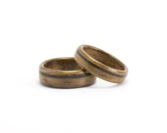 Wood Wedding Bands, Wood Rings for Men or Women, Wooden Wedding Ring Set, Walnut Wood Rings, Black Opal Rings, Bentwood Rings, Wooden Rings