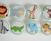 Safari Knobs - Safari Animal Drawer Knobs-  Wood Knobs- 1 1/2 Inches- Made to Order