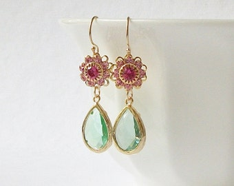 Pink Green Crystal Gold Drop Earrings,Valentine Jewelry Gift
