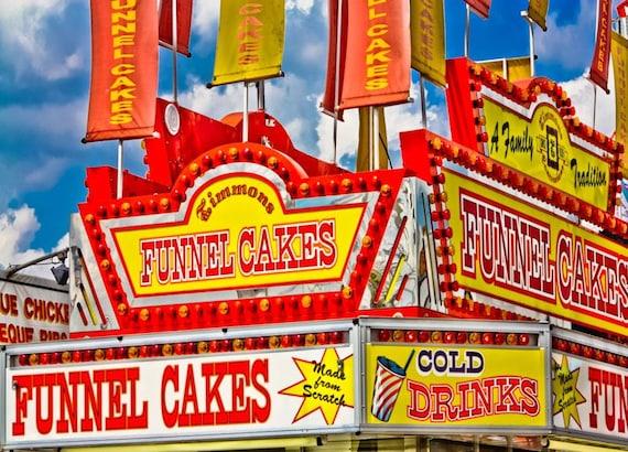 Funnel Cakes Carnival Vendor Fine Art Print- Carnival Art, County Fair, Nursery Decor, Home Decor, Children, Baby, Kids