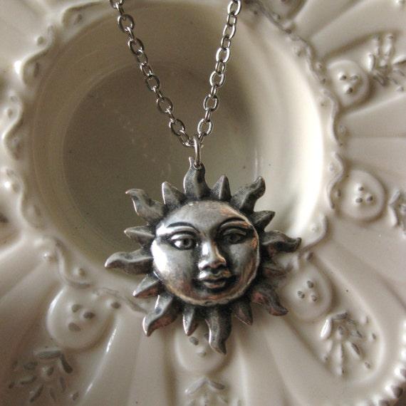 SUN NECKLACE Vintage Silver summer necklace sun jewelry spring necklace summer fashion sunrise necklace sun pendant happy necklace celestial